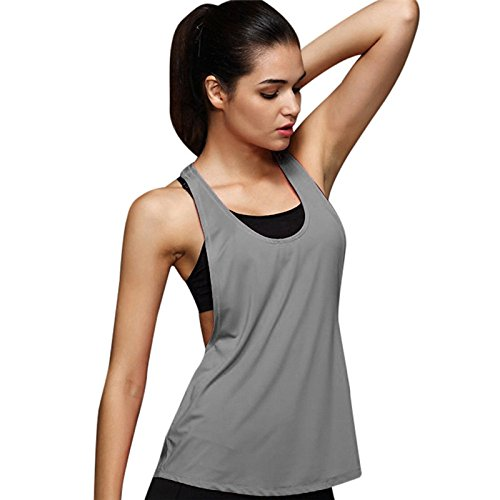 YAliDa 2019 clearance sale Women Summer Sexy Loose Gym Sport Vest Training Run Gym(Medium,Gray)