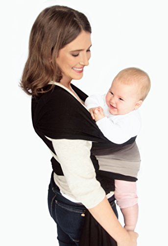 Baby Wrap Carrier Sling Swaddles Infant and Newborn in Peruvian Cotton - Black with Handmade Dip Dye Front Pocket. Reversible. by Mumma