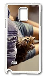 MOKSHOP Adorable fluffy kitten Hard Case Protective Shell Cell Phone Cover For Samsung Galaxy Note 4 - PC White