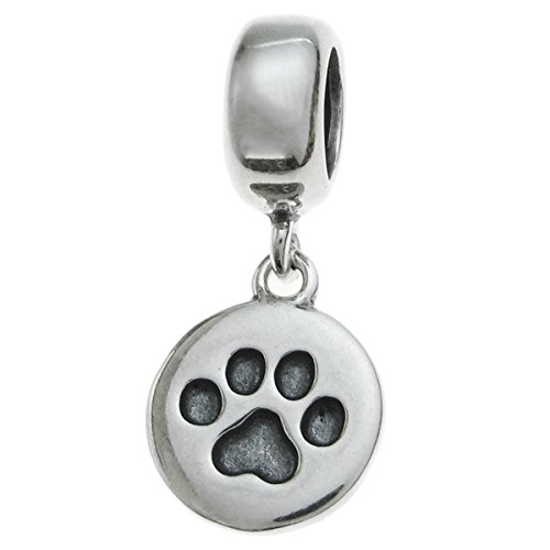 Dreambell Antique 925 Sterling Silver Dog Paw Puppy Footprint Dangle Bead Pendant for European Charm Bracelet
