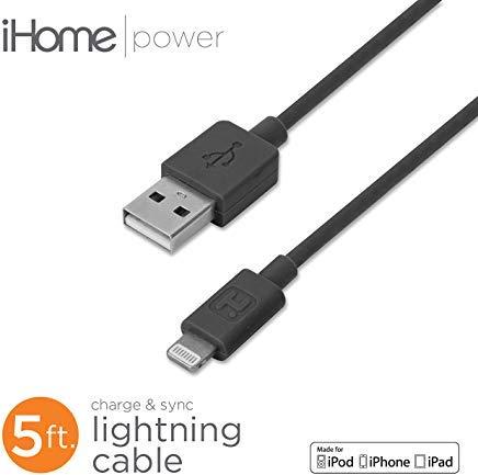 iHome Lightning Cable for 8 pin Lightning - Black - 5'