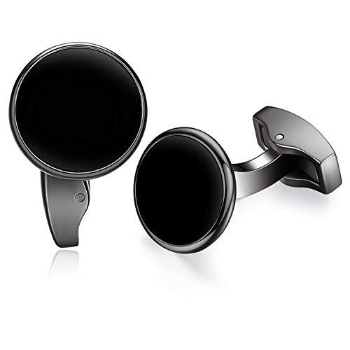 Honey Bear White Pearl Shell/Black Onyx Cufflinks for Mens - Round Stainless Steel, for Business Wedding Gift (Black) ()