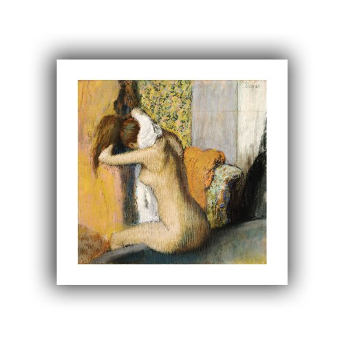 Degas Edgar Bath The After (ArtWall 'After The Bath, Woman Drying Her Neck' Unwrapped Flat Canvas Artwork by Edgar Degas, 28 by 28-Inch)