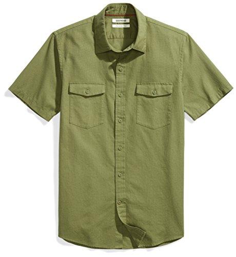 Goodthreads Men's Slim-Fit Short-Sleeve Ripstop Dobby Shirt, Olive, Large