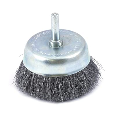 Forney 60006 Cup Brush, Fine Crimped Wire with 1/4-Inch Shank, 2-1/2-Inch