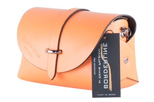 BORDERLINE - 100% Made in Italy - Embrague de Cuero Real - EVELINA P. Naranja