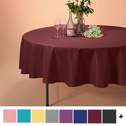 Remedios 90-inch Round Polyester Tablecloth Table Cover - Wedding Restaurant Party Banquet Decoration, Burgundy