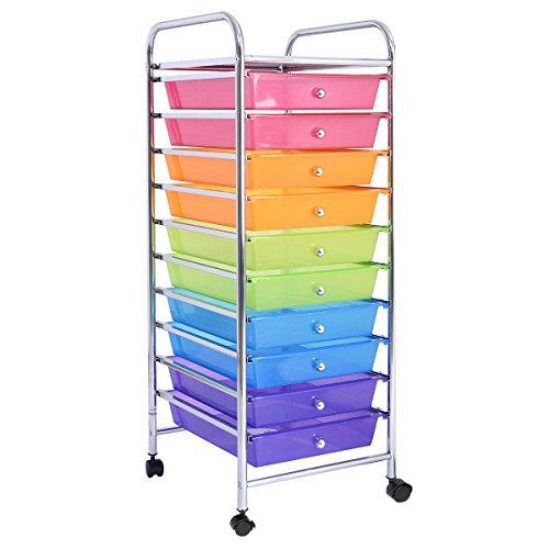 Footlocker No Wheels (NEW 10 Drawer Rolling Storage Cart Scrapbook Paper Office School Organizer Rainbow)