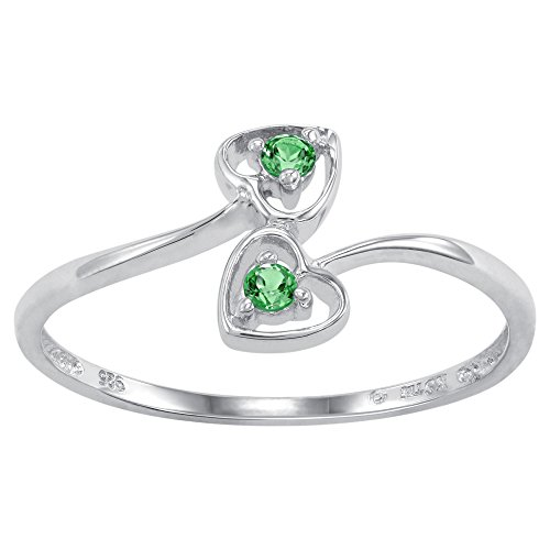 (ArtCarved Dainty Heart Simulated Emerald May Birthstone Ring, Sterling Silver, Size 7)