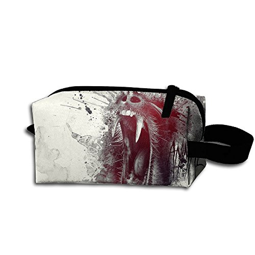Makeup Cosmetic Bag Animal Roaring Pattern Medicine Bag Zip Travel Portable Storage Pouch For Mens Womens by Homlife
