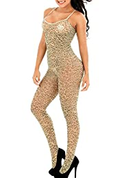 Xinkaishi Womens Leopard Bodystocking Bodysuit Tights Lingerie Crotchless Pantyhose