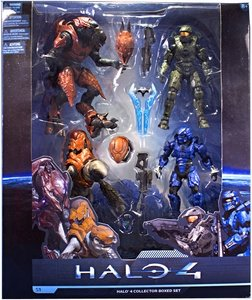 Halo 4 McFarlane Toys Series 1 Exclusive Action Figure 4-Pack Collector Box Set [Master Chief, Elite Zealot, Storm Grunt & BLUE Spartan Warrior] New!