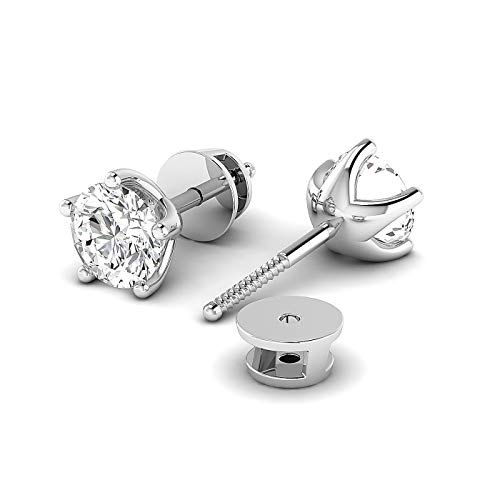 Round Lab Created Diamond Screw Back Earrings For Women, FG Color, Clarity SI