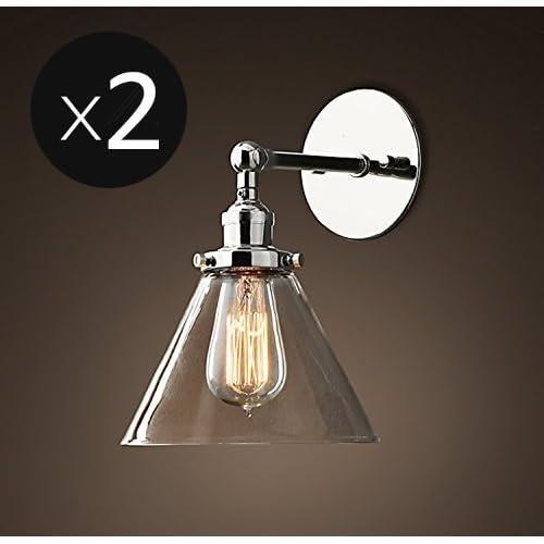 Saint Mossi Métal Vintage Applique Réglable Murale Industrial Lampe contemporaine en verre contemporaine Sconce Edison Culot E27 Luminaires Set of 2