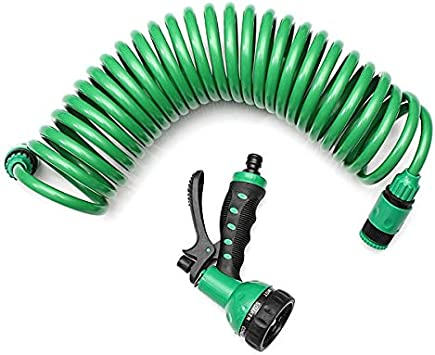 7.5 m Flexible Enrollado En espiral Jardín Lavado de automóviles Agua limpia Manguera 7 Patrón Boquilla rociadora Para el hogar Lavado de automóviles Jardín Agua: Amazon.es: Bricolaje y herramientas