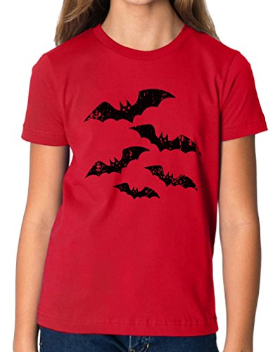 Vizor Halloween Bats Youth T shirts Tees Halloween Funny Costume Ideas Red (Basketball Themed Halloween Costume)