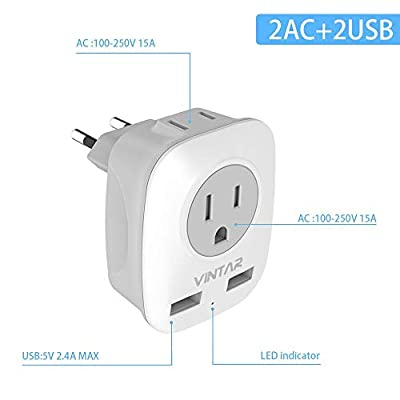 [3-Pack] European Plug Adapter, VINTAR International Power Adaptor with 2 USB Ports,2 American Outlets- 4 in 1 European Plug Adapter for France, Germany, Greece, Italy, Israel, Spain (Type C): Home Improvement