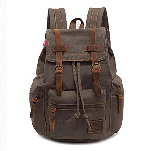 Men's backpack Vintage Canvas Backpack School Bag Men's Travel Bags Large Capacity Travel Backpack Bag Army Green