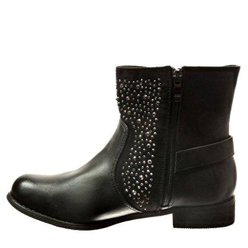 Angkorly - damen Schuhe Stiefeletten - Biker - Strass - Schleife - Reißverschluss Blockabsatz 3 CM - Schwarz