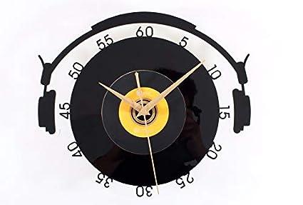 Hdoubr moda musica cuffie da parete orologio da parete retrò