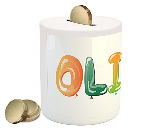 Ambesonne Olivia Coin Box Bank, Well-Known Traditional Girl Name with Medieval Roots Modern Funny Party Letters, Printed Ceramic Coin Bank Money Box for Cash Saving, Multicolor by Ambesonne