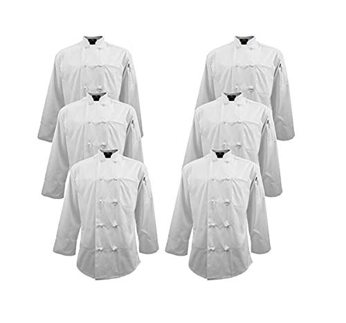 (Natural Uniforms Chef Apparel Knot Button Chef Coat Multi Pack White Color (6, Small) )