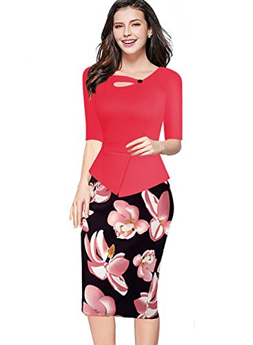 Babyonlinedress - Vestido - Estuche - manga 3/4 - para mujer Watermelon Red-2