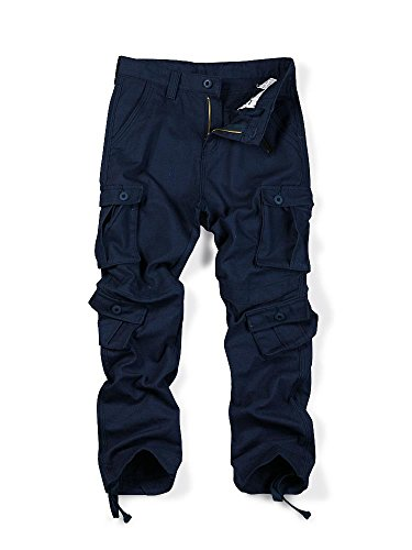 (MUST WAY Men's Causal Slim Fit Cargo Pants With Multi-Purpose Pocket Military Style Work Pants Royal Blue 36)