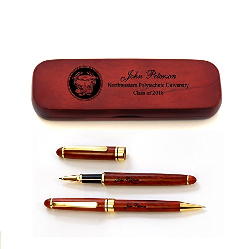 Thanh 39's Personalized Rosewood Case and Two Pens for Graduate (Engraved Pen Pencil Sets)