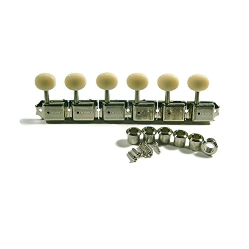 Kluson SD9105MNP 6 In-Line Vintage Tuning Machines, Nickel/Plastic