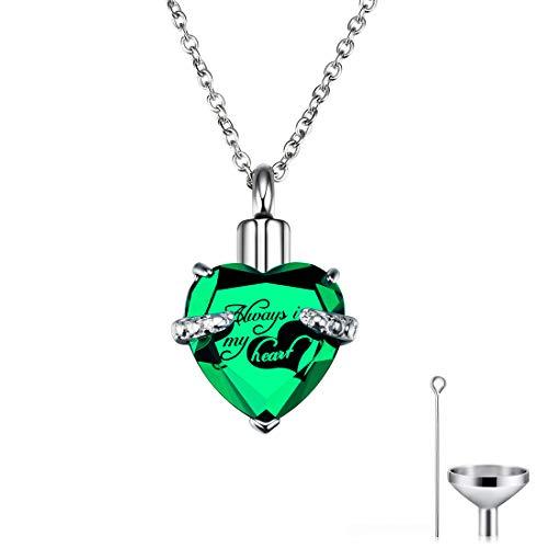 CAT EYE JEWELS Memorial Urn Necklace Always in My Heart Birthstone Keepsake with Funnel Kit Green