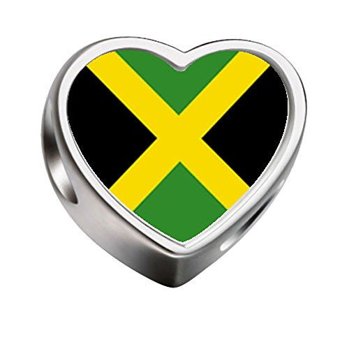 FERVENT LOVE Jamaica flag Heart-shaped Photo Charm Beads for Charm Bracelet