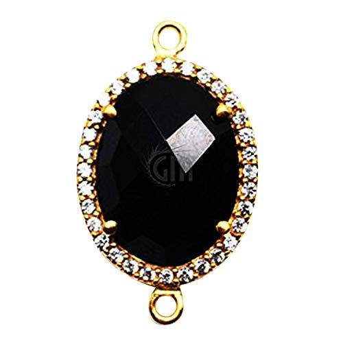 Black Onyx Pave Bezel Gemstone Connector, 12x16mm Oval Shape 24k Gold Plated Double Bail (GPBO-40002)