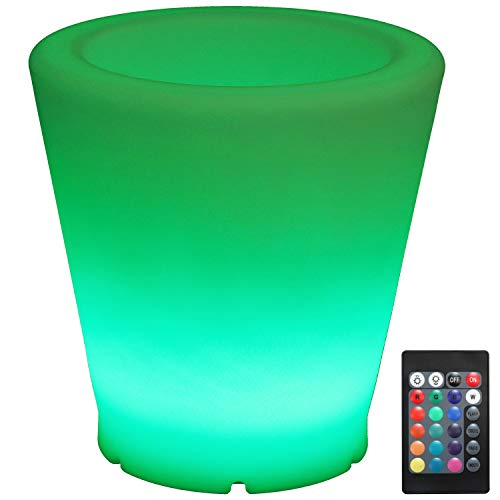 Sunnydaze Indoor/Outdoor LED Flower Pot with Remote Control, Rechargeable Battery, RGB Color-Changing, 12-Inch Diameter