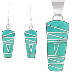 925 Sterling Silver Matching Pendant and Earrings Set with Genuine Turquoise
