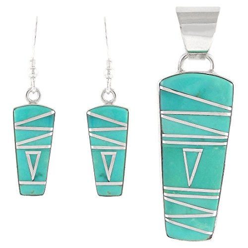 925 Sterling Silver Matching Pendant and Earrings Set with Genuine Turquoise (Genuine Pendant Silver Turquoise Sterling)