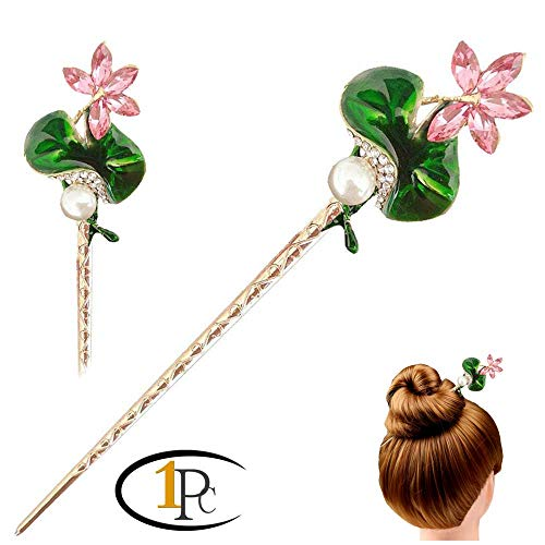 FINGER LOVE Chinese Hair Decor Crystal Rhinestone Flower Hair Stick with Jewelly Box (Beauty flower)