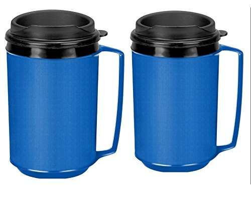 Two 12 oz Insulated Coffee Mugs like the Classic Aladdin Mugs by Thermo Serv (blue)