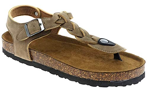 MVE Shoes Women's Stylish Comfortable Open Toe Single Adjustable Braided Strap Buckled Platformed Gripped Sandal, BORK-54 Taupe - Braided Platform