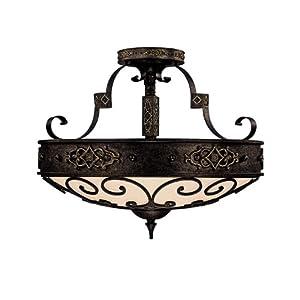 Capital Lighting 3615RI Semi-Flush Mount with Rust Scavo Glass Shades, Rustic Iron Finish