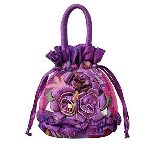 (Women Roses Handbag Small Drawstring Bucket Bags For Women Flowers Bright Ruffles Printed Lace/Gauze Fully Lining Purple)
