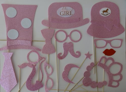 Baby Shower Its a Girl 17 Pc Photo Booth Party Props Blue Photo Booth Props Mustache on a Stick Tiara Mustaches Bowler hat Top Hat.