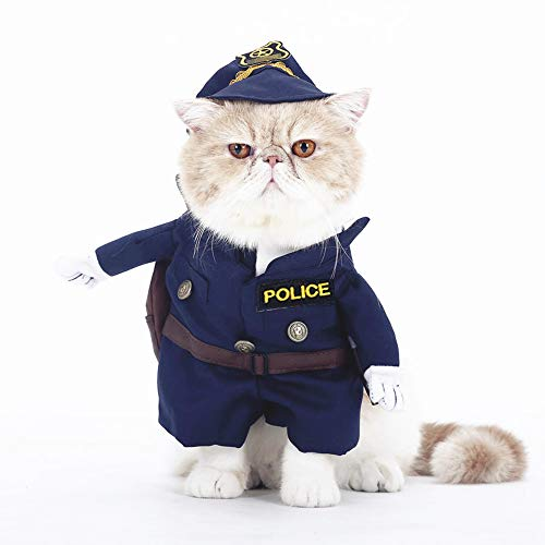 SMALLLEE_LUCKY_STORE Funny Cat Halloween Costume Dog Police Costume with Hat Pet Outfits Puppy Holiday Clothes Size S -