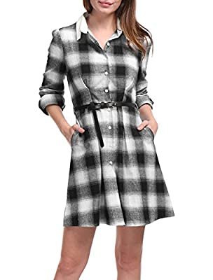 Allegra K Women's Contrast Collar Belted Above Knee Plaid Shirt Dress