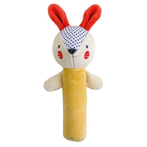 Petit Collage Eco-Friendly Organic Cotton Baby Soft Squeaker Rattle, Bunny