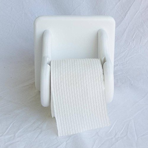 Fabian Woodworks Toilet Paper Holder - Wooden - Square Back - Wooden drop-in spindle - Holds standard toilet paper rolls - White by Fabian Woodworks (Image #3)