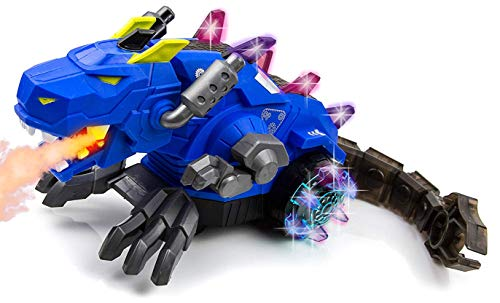 Toysery Mechanical Spray Dragon Dinosaur Toy for Kids - Walking Dragon Spray Mist with Red Light - Electric Toy Fire Breathing Water Spray Dinosaur for Boys, Girls Blue - Breathing Blue Fire Dragon