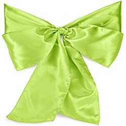 Lann's Linens - 100 Elegant Satin Wedding/Party Chair Cover Sashes/Bows - Ribbon Tie Back Sash - Lime Green
