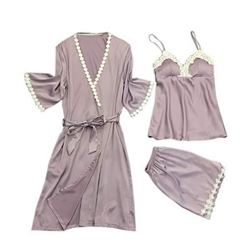 7173cd5b415860 Trendy Women Elegant Sleepwear Female Sexy Lace At All Seasons Silk Pajamas  Set Coat+Vest+Shorts Pijama(Purple,M)
