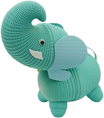 Safari Animals - Elephant - Paper Craft DIY Kit : 3D Paper World Quilling. Handmade Toys for Kids and Adults Alike. Great Decorations for Home or a Party. (Turquoise, Small)
